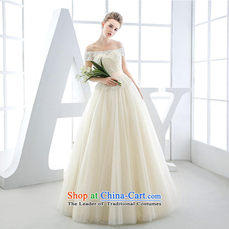 Wedding dress the Word 2015 winter bride shoulder and chest champagne color western retro irrepressible high-end high-huns champagne color?XL