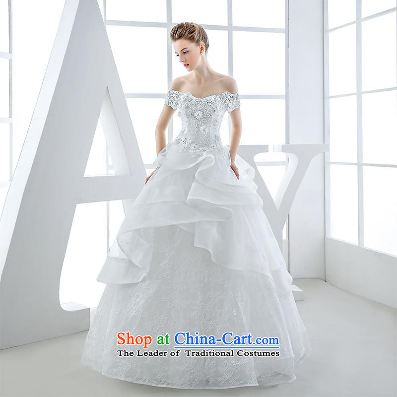 Wedding dress of autumn and winter 2015 new bride first field to align the shoulder v-neck diamond luxury big high-end up doing White XL