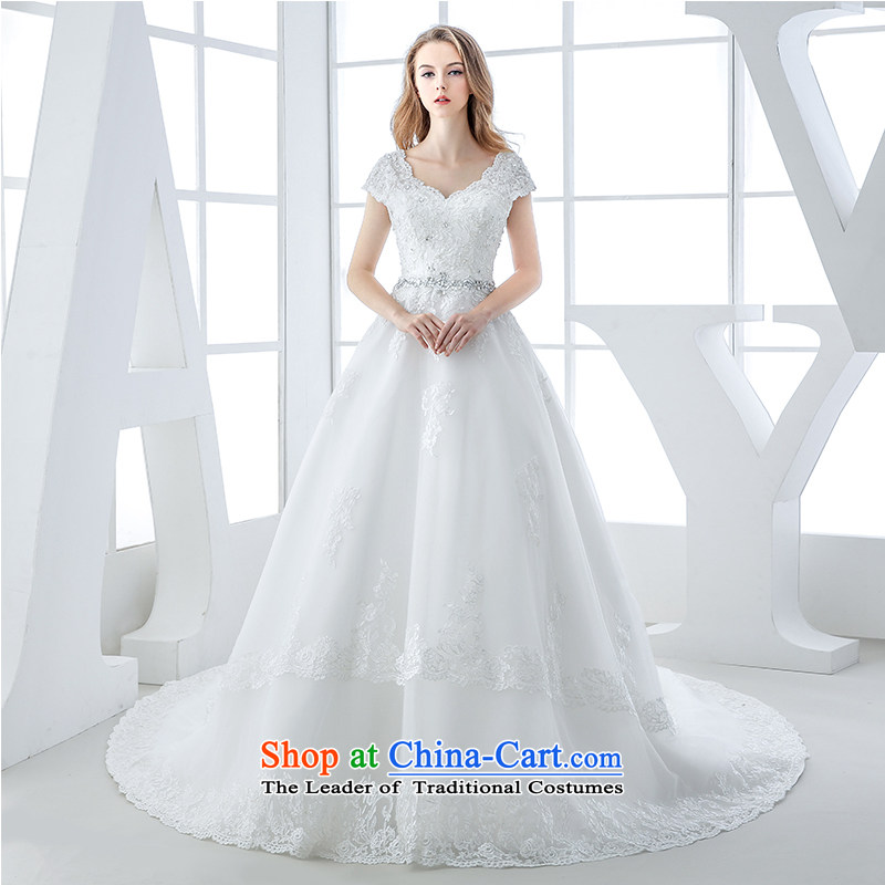 Wedding dress 2015 winter new Korean Won version tail bride video thin dark V-Neck lace pregnant women?and 1 m Top Loin of tail?M