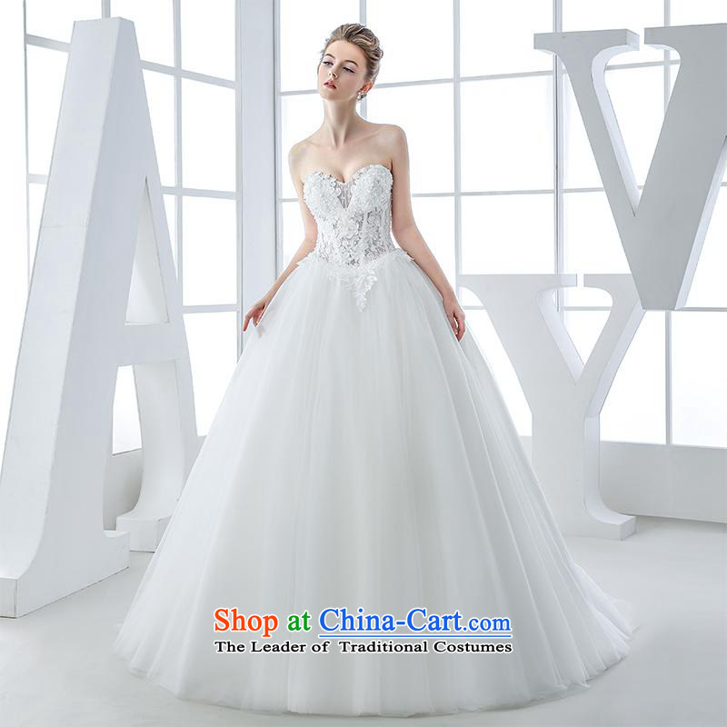 Wedding dress 2015 winter new bride wiping the chest straps trailing Korean-style palace western graphics thin white high-end white 50cm and tail聽XL