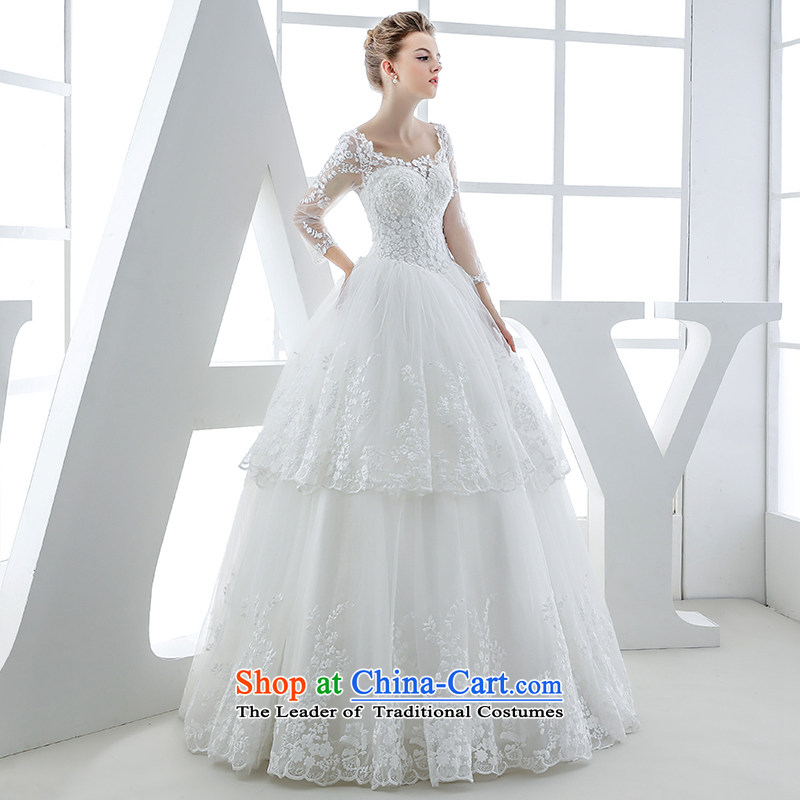 Wedding dress 2015 winter new bride long-sleeved shoulders lace align to bind with the white European-style high-end antique white?S