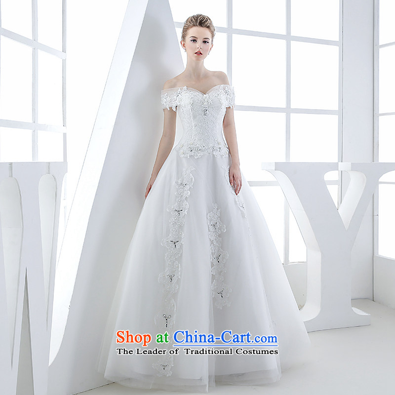 Wedding dress of autumn and winter 2015 new bride first field to align the shoulder v-neck with Europe and the cuff princess stylish and simple white S