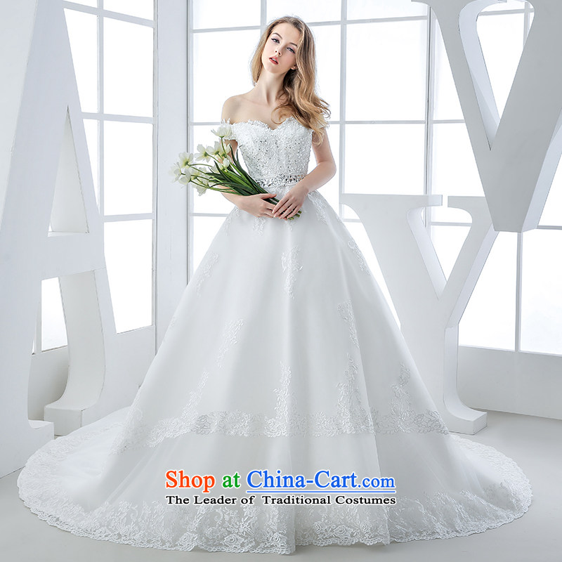 Wedding dress 2015 winter new bride first field shoulder Deep v-neck tail lace pregnant women Top Loin of Sau San Video Thin?1.5 m and tail?M