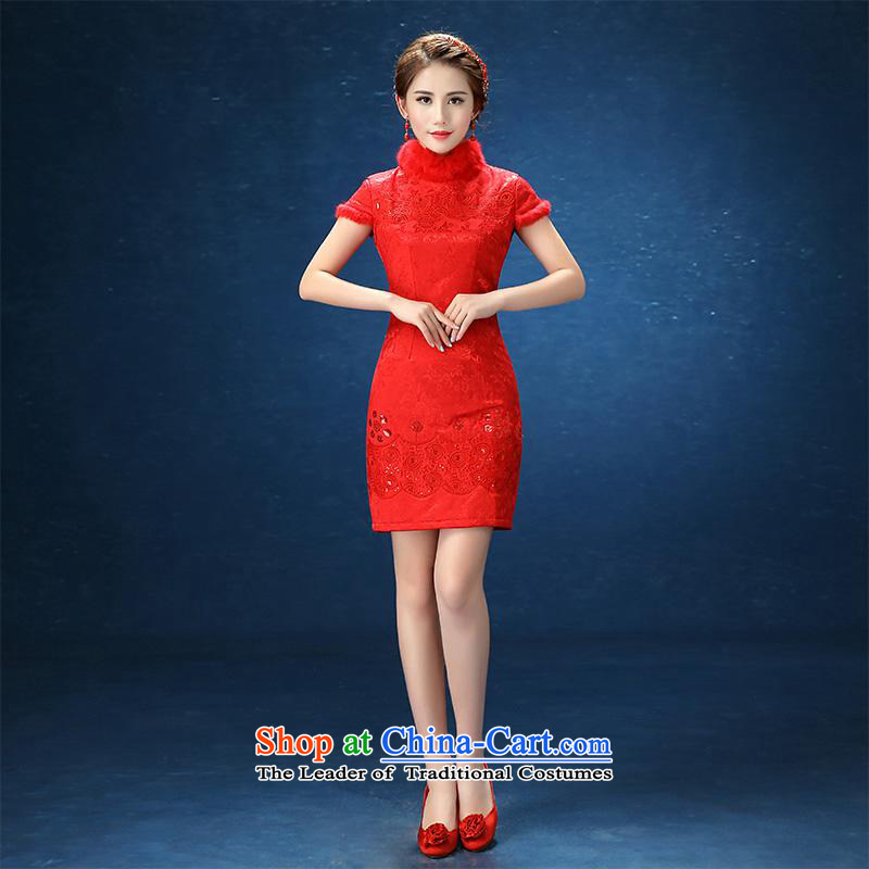 2015 WINTER winter wedding dress uniform qipao upscale bows red Sau San marriages wedding short cheongsam red�S