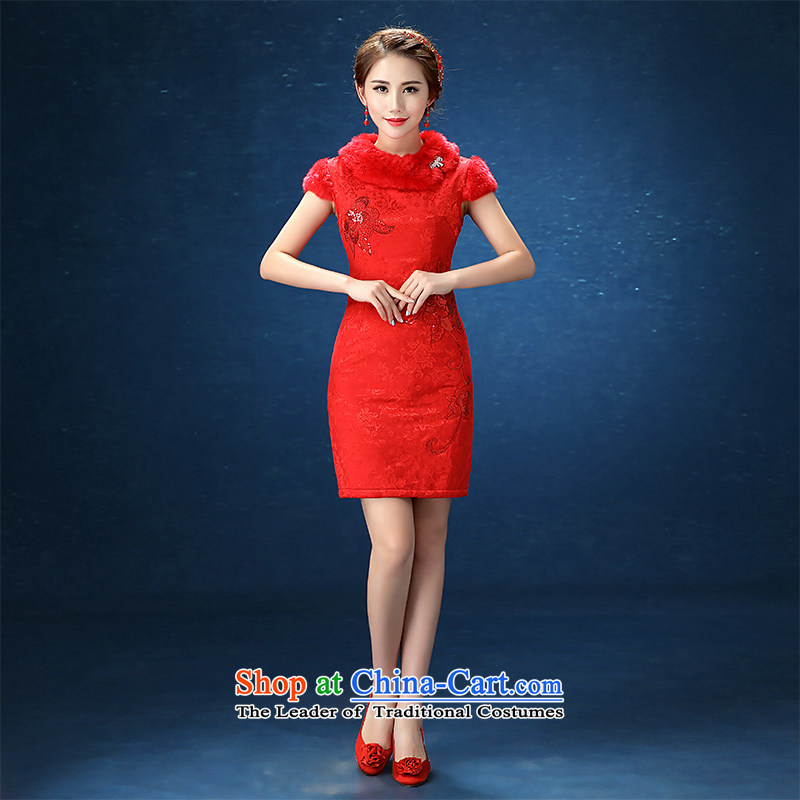 2015 Autumn and winter winter wedding dresses marriages QIPAO) Ms. red etiquette short bows services RED M )