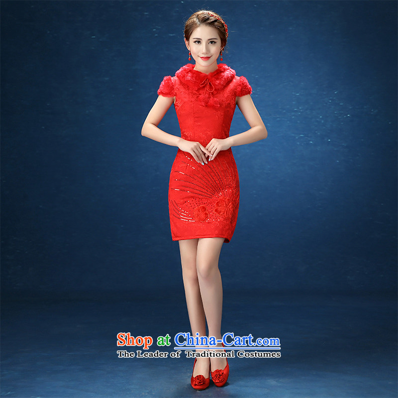 2015 WINTER winter wedding dresses marriages qipao red short of Sau San short qipao etiquette bows services red?XL