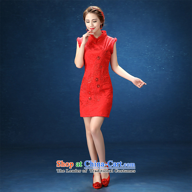 2015 WINTER winter clothing new cheongsam marriages wedding large red short qipao bows service     RED?S