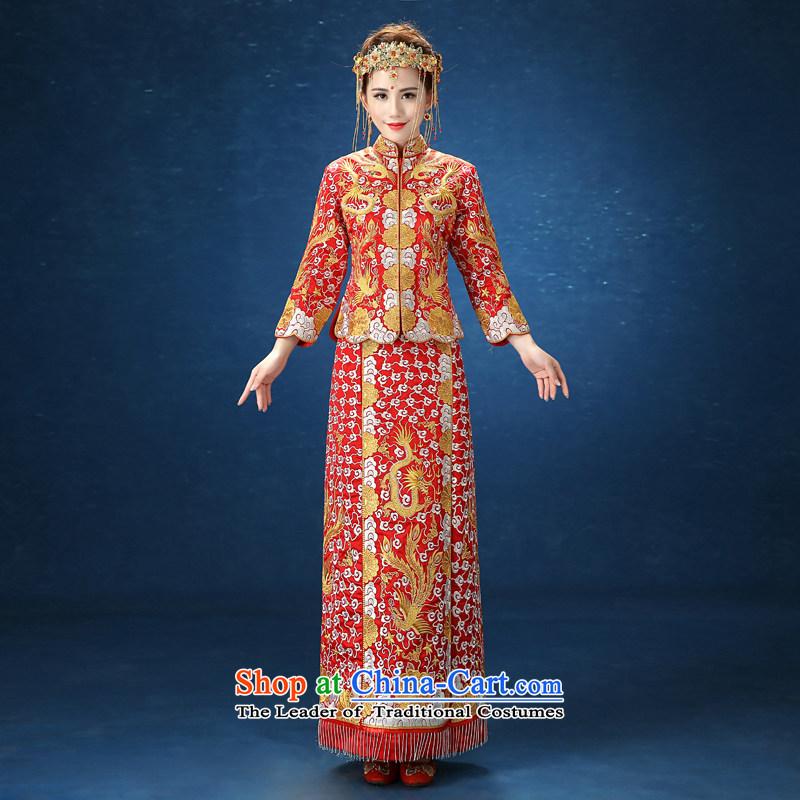 2015 WINTER New Sau Wo service long-sleeved Sau San marriages Chinese cheongsam dress longfeng use female RED�M