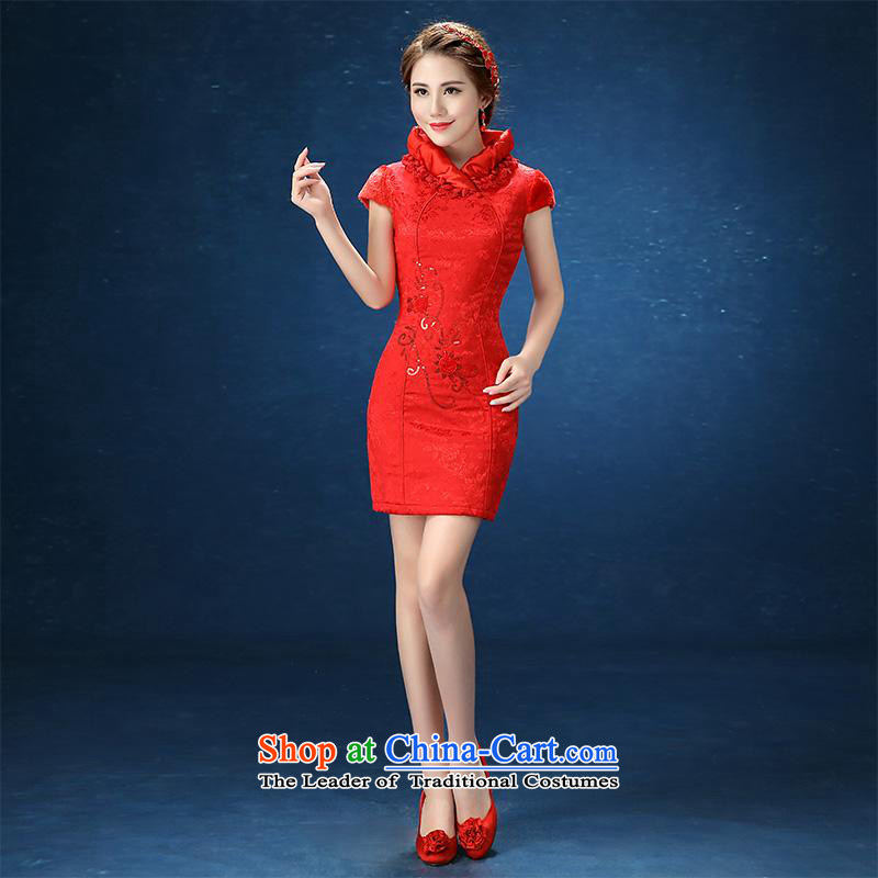 2015 WINTER winter clothing new large red Sau San short for women marriages wedding dresses bows services red short?M