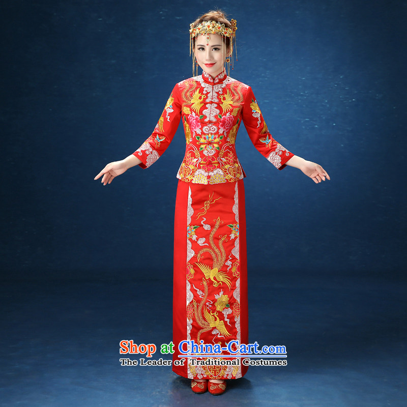 2015 WINTER new kimono cheongsam dress Soo-red-soo wo serving Chinese style wedding bride bows to Sau San Red?XXL