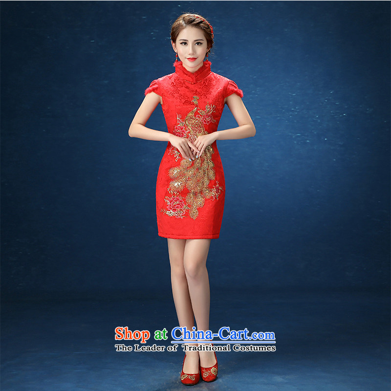 2015 WINTER qipao gown married for winter large red short, bridal dresses girl who drink service red decorated?L