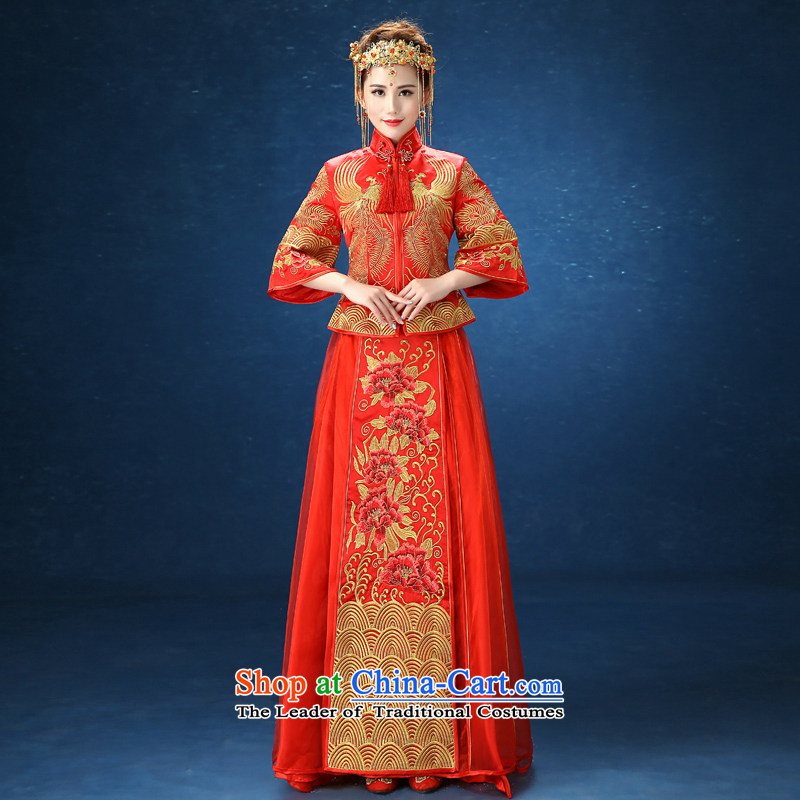 2015 WINTER New Sau Wo Service Bridal Chinese wedding gown marriage costume large long-sleeved longfeng pregnant women use red聽S