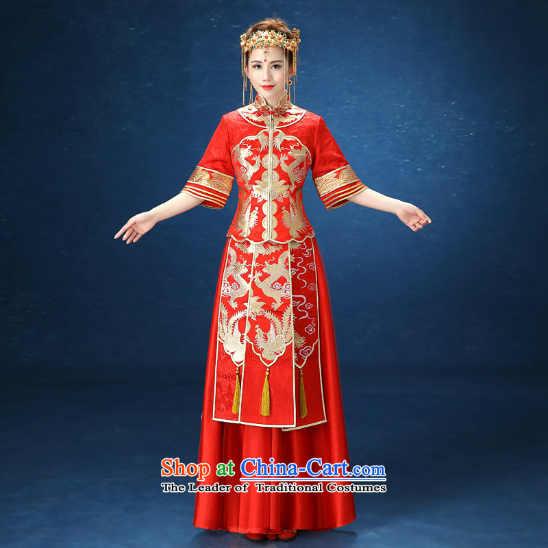 2015 WINTER new red-soo kimono qipao Sau San marriages Chinese dragon use female Red Dress�XXL