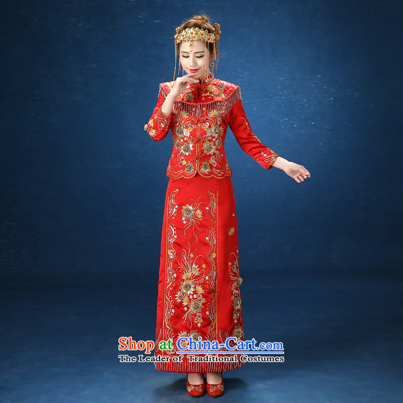 2015 WINTER New Sau Wo Service Bridal Sau San video thin bows to Chinese marriages Soo kimono red�XL