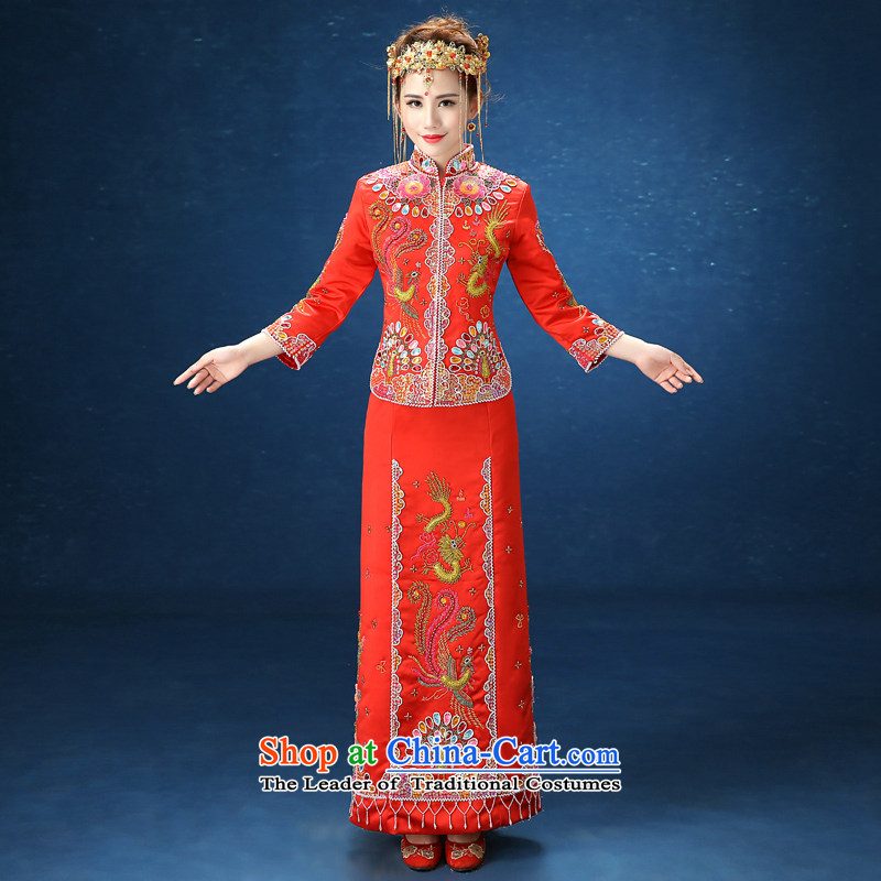 2015 WINTER new bride services wo long-sleeved Soo-wedding gown Chinese-Sau San kimono bows services RED�M marriage