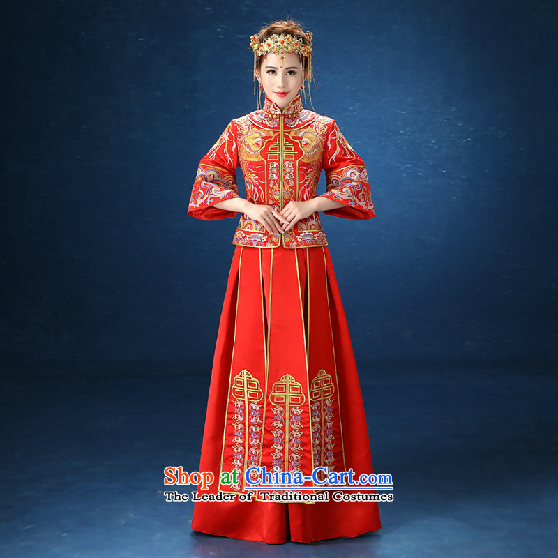 2015 WINTER New Sau Wo service long-sleeved costume bride wedding dress Chinese wedding dress code and Phoenix Use Red Large?S