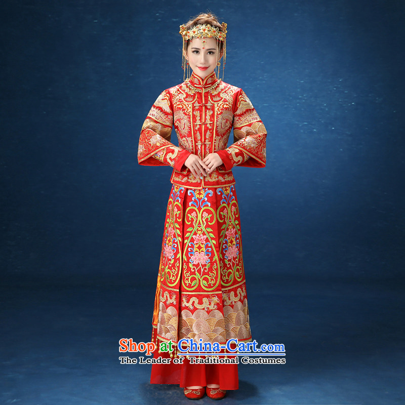 2015 WINTER New Sau Wo Service Bridal Chinese dragon use red brides married long-sleeved Soo kimono red XXL