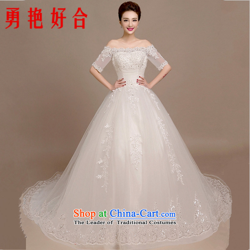 Yong-yeon and autumn and winter wedding dresses 2015 winter new word to align the shoulder bride Korean style large Sau San lace large trailing white streaks in the size is not a replacement for a