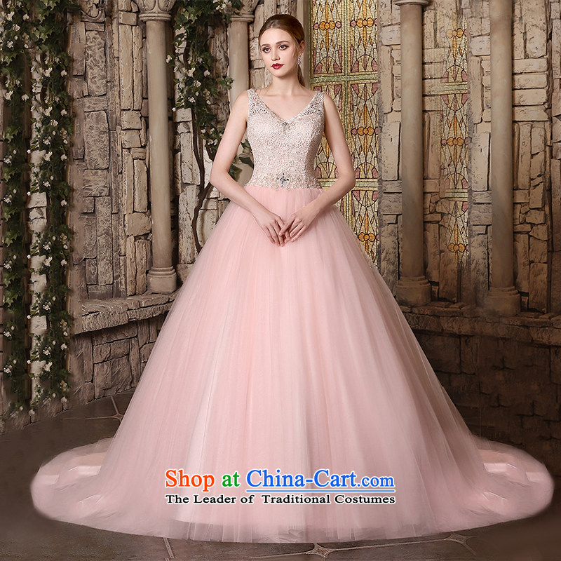 Custom Wedding 2015 dressilyme autumn and winter new shoulders V-Neck lace diamond princess bon bon skirt package detained bride wedding dress White - No spot?XXL