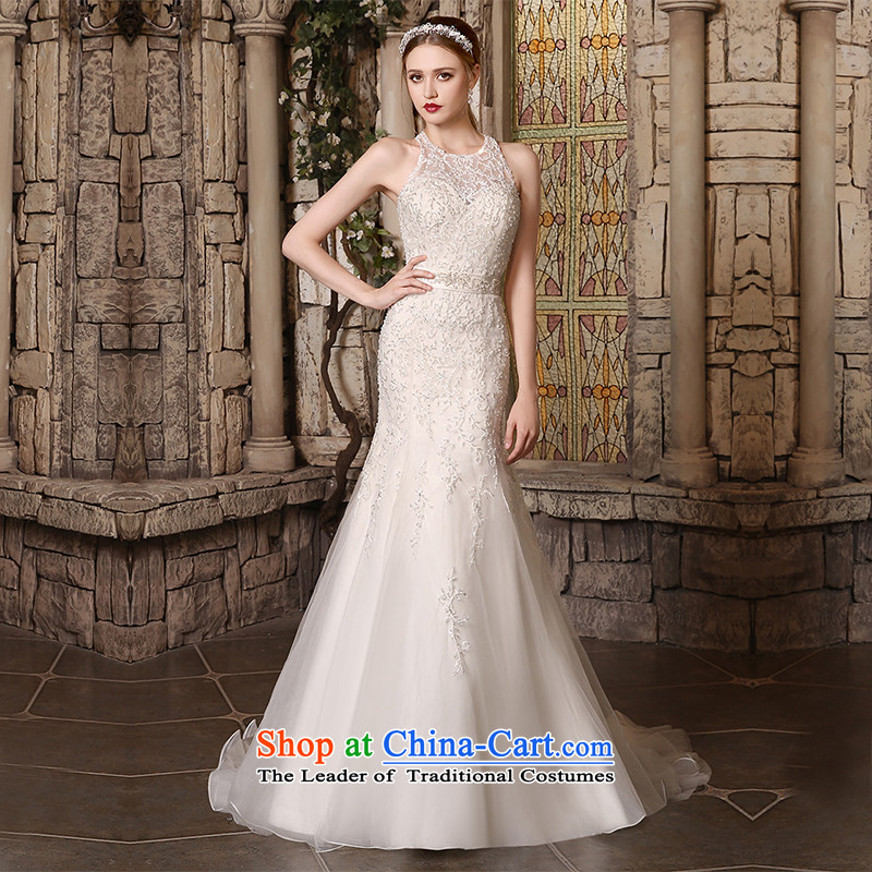 Custom Wedding 2015 dressilyme autumn and winter New Sau San crowsfoot luxury Stitch pearl round-neck collar small trailing wedding bride wedding dress ivory - no spot M