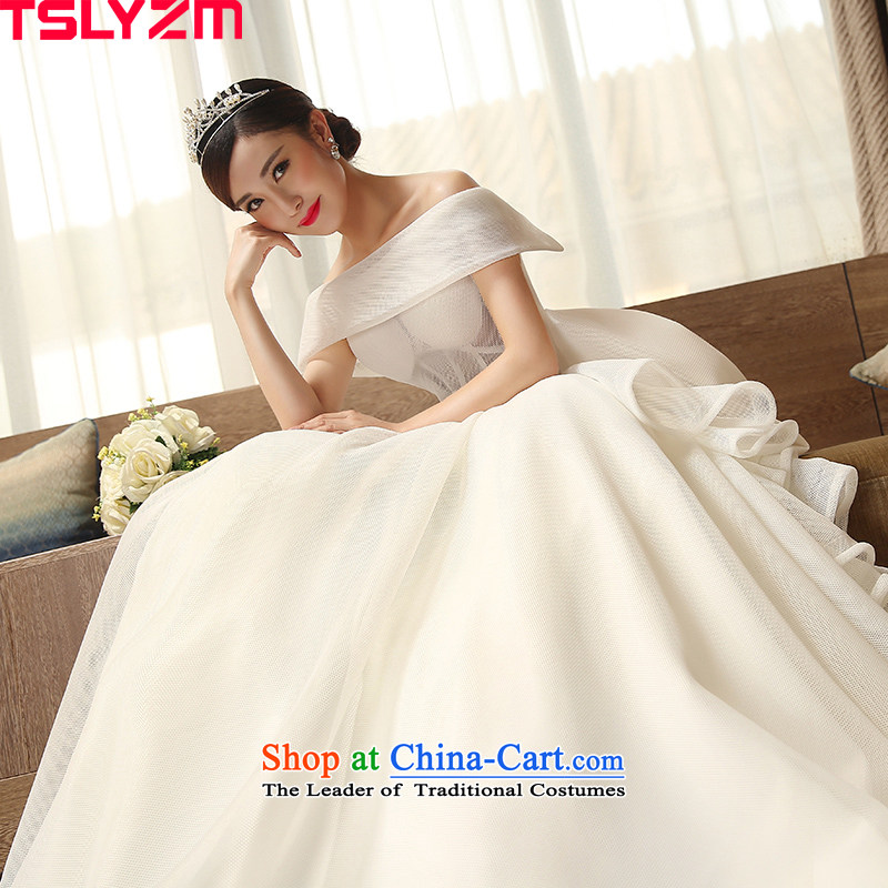 The word bride tslyzm shoulder wedding dresses long tail big bow tie 2015 new autumn and winter video thin wedding dress White?XL Sau San