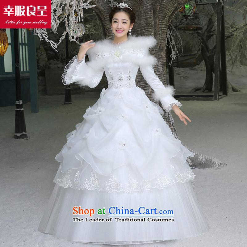The privilege of serving-leung wedding dresses new Word 2015 winter shoulder bride wedding dress to align the large numbers of female long-sleeved winter, wedding�L