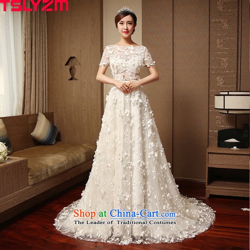 The same tslyzm star wedding dresses small trailing short-sleeved marriages 2015 new autumn and winter flower Flower Fairies  romantic wedding Series White XXL