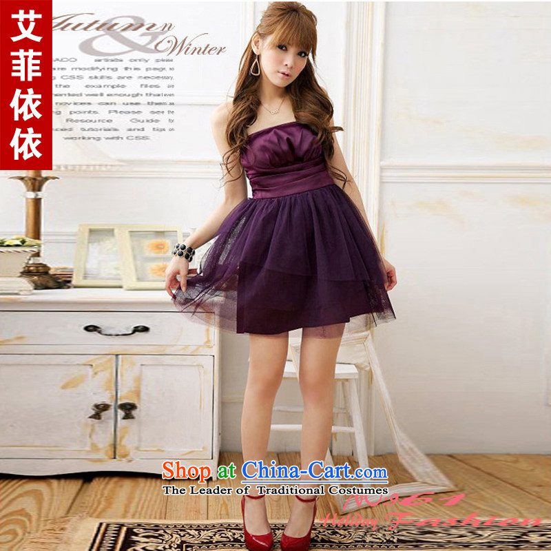 Of the 2015 Korean glued to the new women's short of Korean bridesmaid sister performed under the auspices of annual meetings of the netting out chest Foutune of small dress dresses 1757 white are code