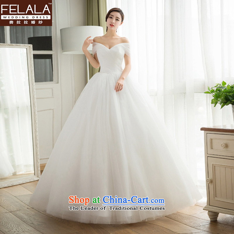 Ferrara wedding dresses 2015 autumn and winter new Korean simple graphics to align the thin wedding word shoulder bon bon bride out yarn�XL(2 feet 2)