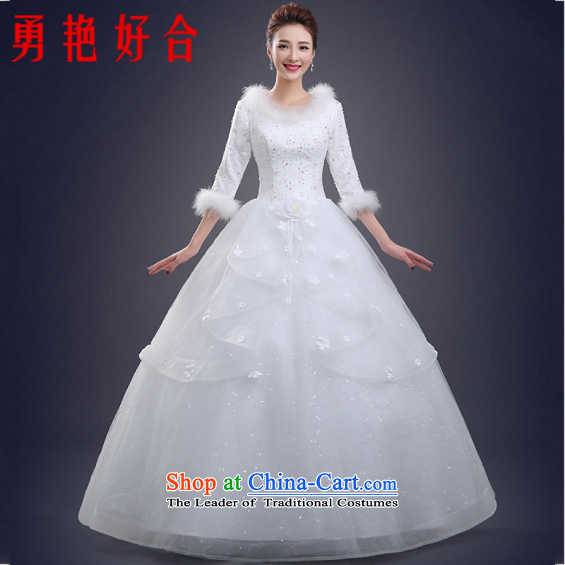 Yong-yeon and autumn and winter wedding dresses 2015 new Korean style to align the large graphics thin thickened Sau San 7 cuff white made no refunds or exchanges Size