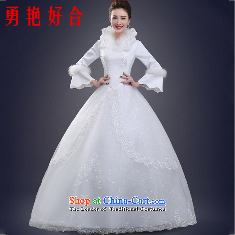Yong-yeon and 2015 winter new wedding long-sleeved plus cotton waffle winter) marriages to align the wedding larger Sau San White�XL