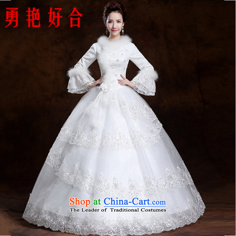 Yong-yeon and 2015 autumn and winter new wedding alignment with long-sleeved thickened to bind marriages wedding yard white made no refunds or exchanges Size