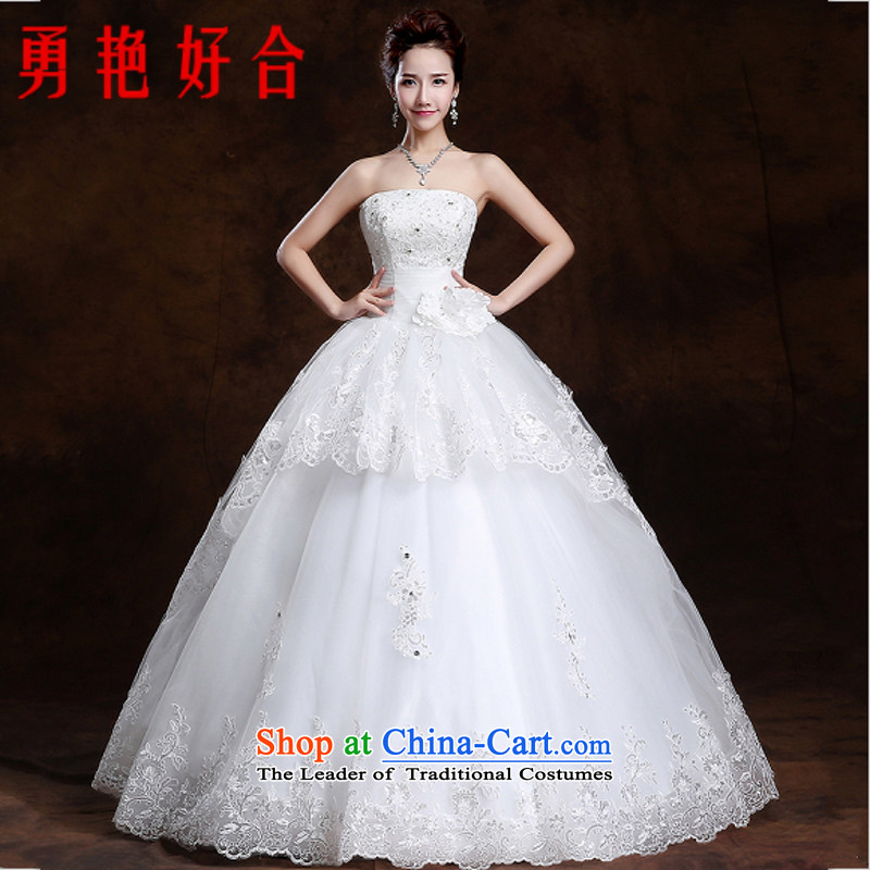 Yong-yeon and wipe the chest wedding dresses of autumn and winter 2015 new marriages to align the large Korean lace straps Sau San White�XXL