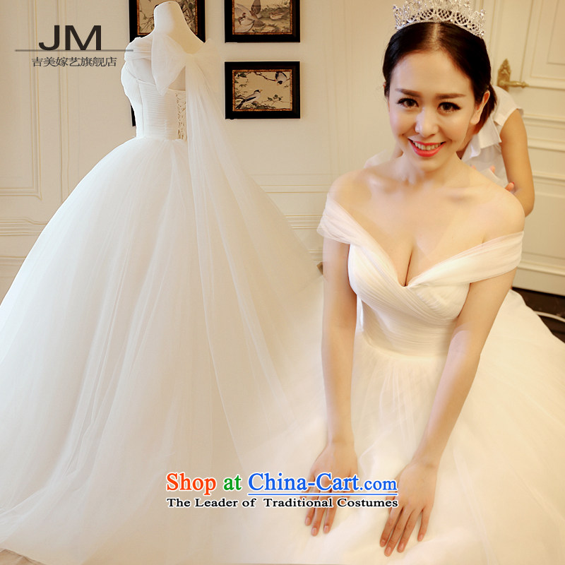 Kyrgyz-US married arts wedding dresses Summer 2015 Shinhan version 1 shoulder graphics thin bon bon skirt tail 4-7837 bride wedding alignment of the funds from the?15 day shipping?M