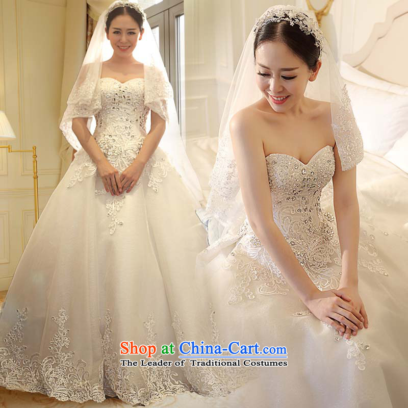 Kyrgyz-US married arts wedding dresses Summer 2015 New Long Tail Korean style large water drilling lace 7532 bride wedding tail? 15 day shipping?XXL