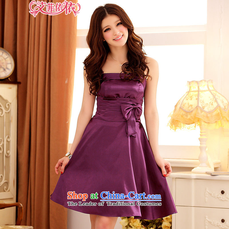 Of the�Korean version of the new 2015 reft of short, under the auspices of marriage banquet bridesmaid light bow knot Victoria Foutune of gathering large lifting strap dress skirt its 3676th purple�XXL