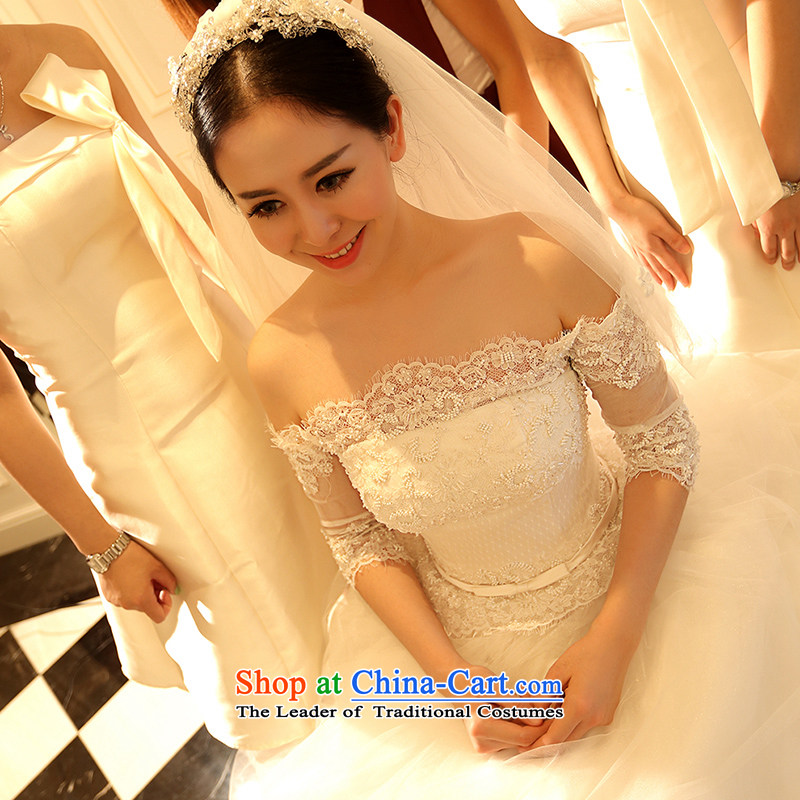 Kyrgyz-US married arts wedding dresses Summer 2015 new Korean word shoulder lace video thin marriage bride wedding white 9.78 trillion M