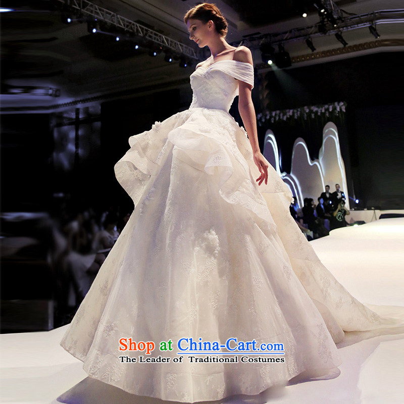 2015 Autumn and winter new stylish Western slotted shoulder wedding dresses long tail retro Palace Grand tail tail?M