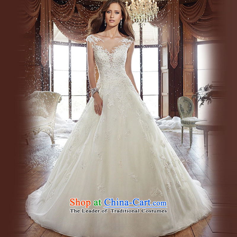 2015 new stylish Western Korean word your shoulders to shoulder wedding dress large tail winter lace large graphics thin tail of tailored