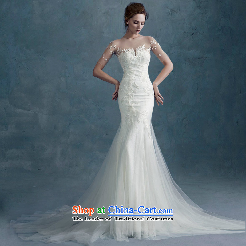 2015 Autumn and winter new word shoulder lace Sau San Video Foutune of thin, cuff crowsfoot wedding dresses small trailing custom straps) L strap)