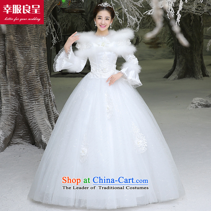 The privilege of serving-leung winter wedding dresses new bride replacing wedding dresses 2015 large long-sleeved to align the word shoulder White?XL