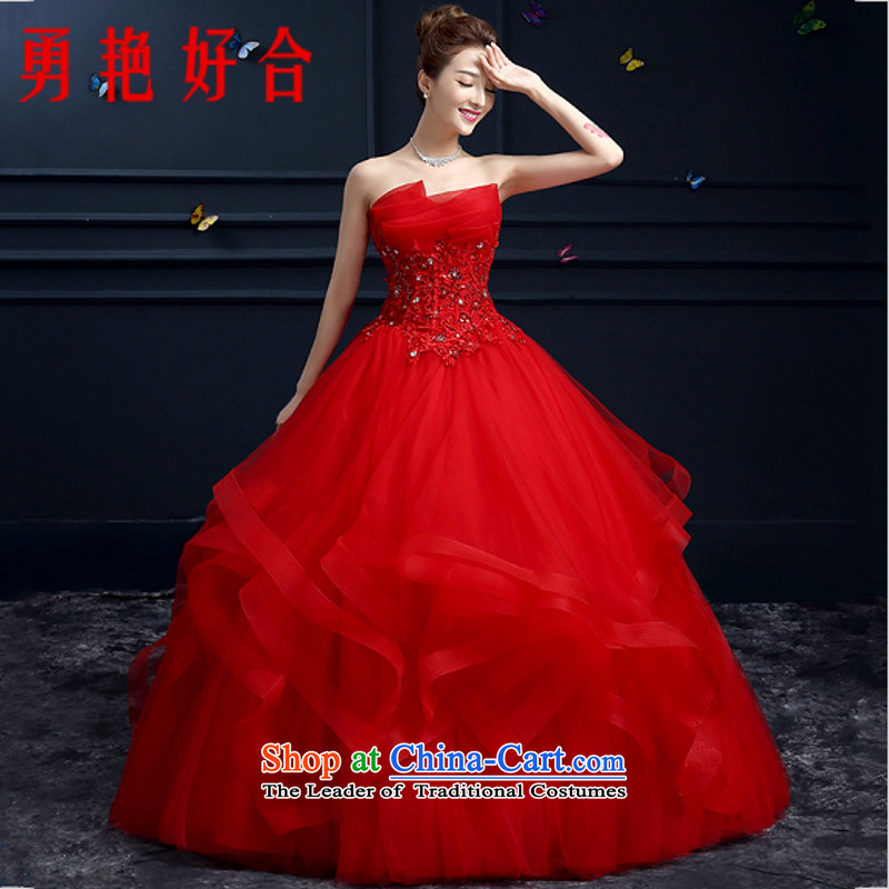 Yong-yeon and wedding dresses new 2015 autumn and winter marriages and chest Korean align to bind with the large number of red?XL