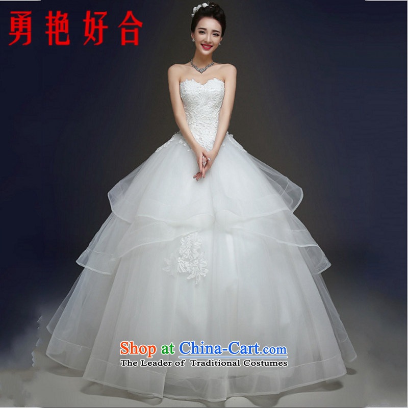 Yong-yeon and autumn and winter wedding dresses new marriages and chest 2015 lace straps to align the Korean female Sau San made no size White Replacement