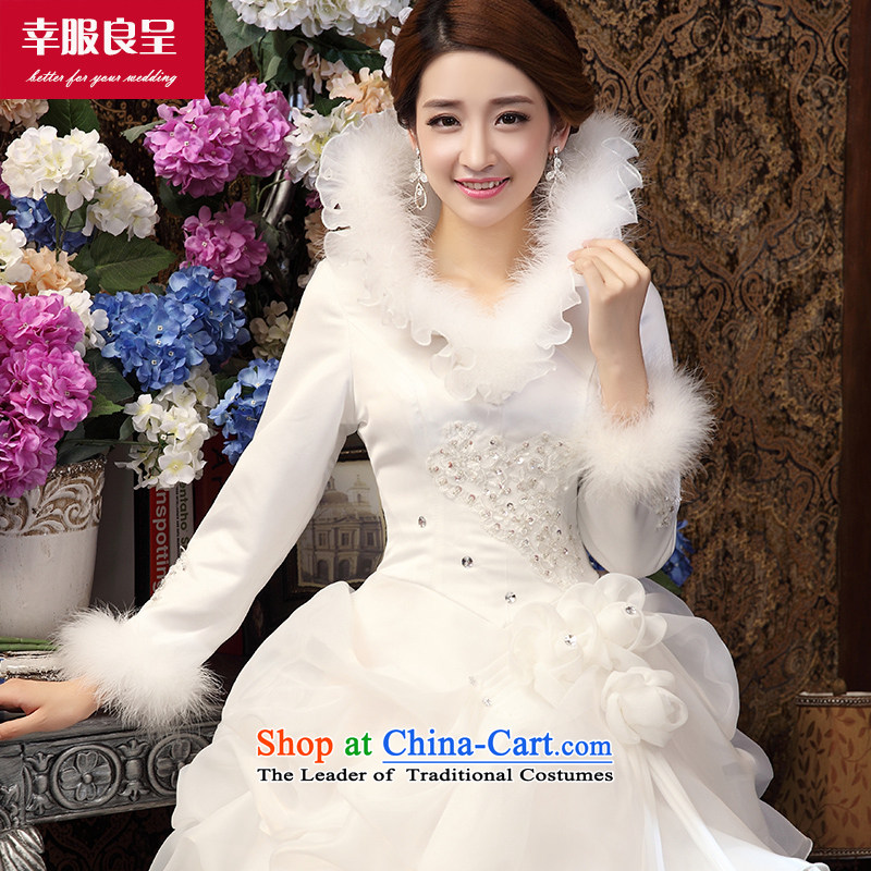 The privilege of serving-leung winter bride wedding dresses wedding dress shoulders to align the large long-sleeved Korean Sau San white?L