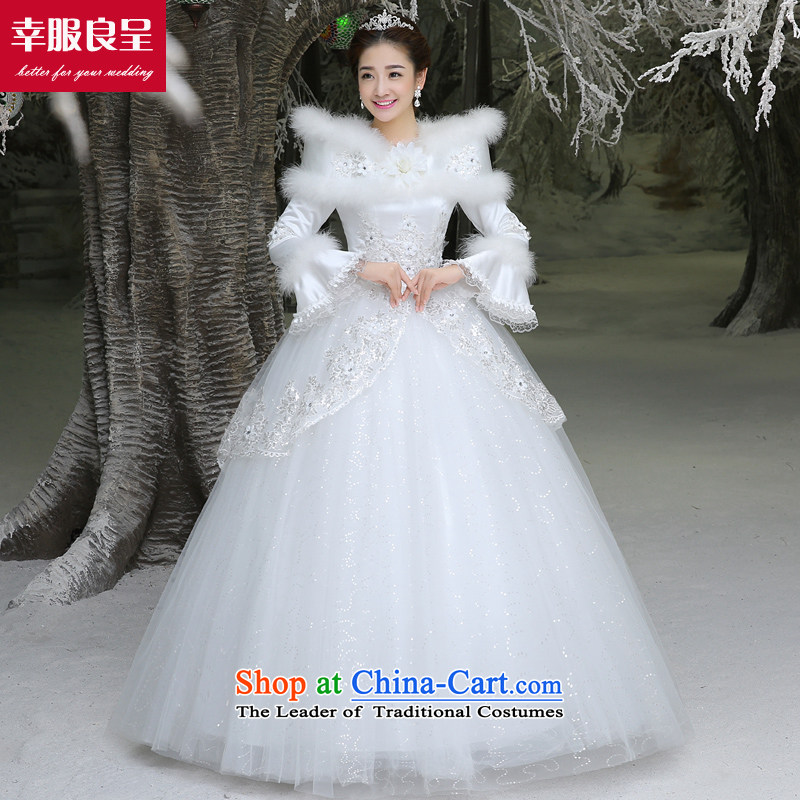The privilege of serving-leung winter wedding dresses wedding dress bride with new large long-sleeved align to shoulder a White�2XL
