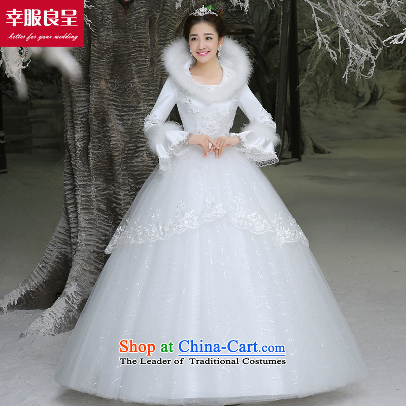 The privilege of serving-leung winter wedding dresses new bride wedding dress larger long-sleeved Korean to align the minimalist white?M