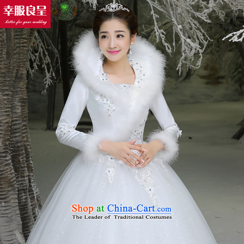The privilege of serving-leung winter bride wedding dresses wedding dress new long-sleeved large Korean to align the minimalist white?M