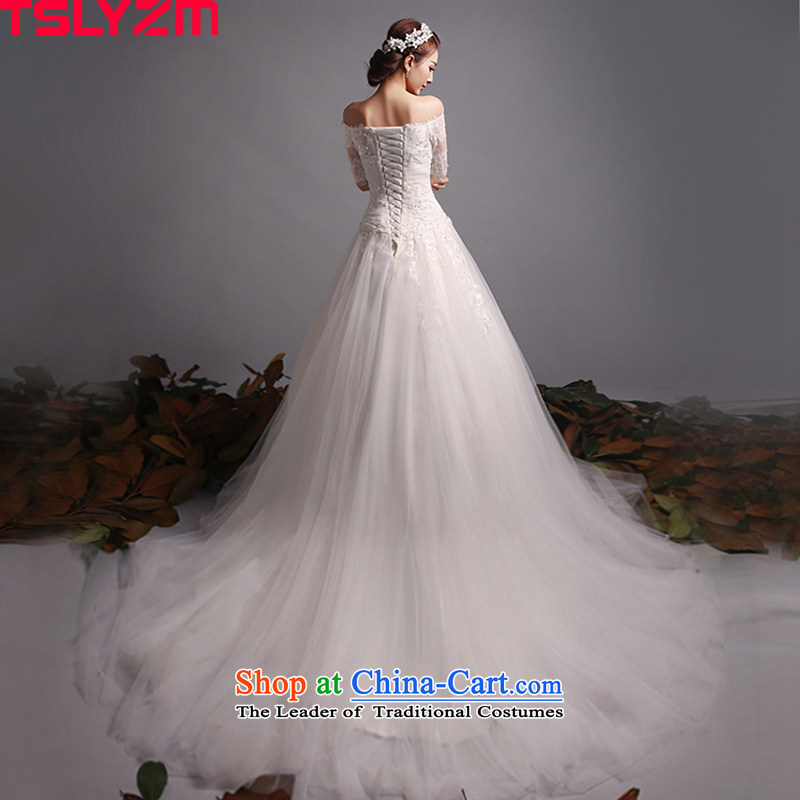 The word tslyzm bride shoulder length tail wedding dresses in cuff new 2015 autumn and winter married Korean style graphics thin long-sleeved Sau San tail 120cm XL