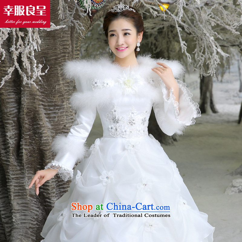 The privilege of serving-leung wedding dresses new Word 2015 winter shoulder bride wedding dress to align the large numbers of female long sleeved shirt with white 2XL