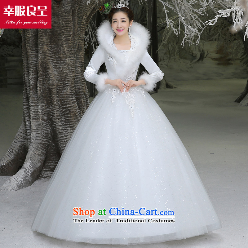 The privilege of serving-leung winter bride wedding dresses wedding dress new long-sleeved large Korean to align the minimalist White?XL